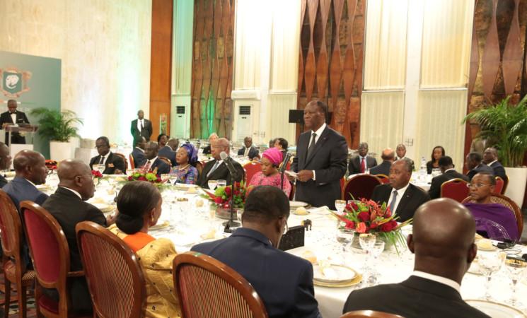 Allocution de SEM Alassane OUATTARA à l'occasion du diner officiel offert en l'honneur de SE Nana Addo Dankwa AKUFO-ADDO, Président du Ghana