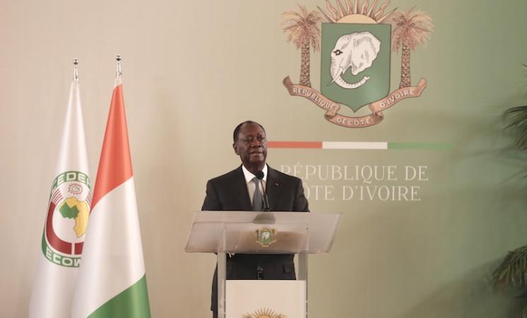 PRESENTATION DES VŒUX AU PRESIDENT DE LA REPUBLIQUE-ALLOCUTION DE S.E.M ALASSANE OUATTARA  AUX FORCES DE DEFENSE ET DE SECURITE